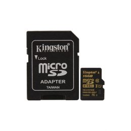 Карта памяти Kingston 16GB microSDHC C10 + SD адаптер (SDCA10/16GB)