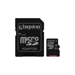 Memory Card Kingston 64GB microSDXC C10 UHS-I + SD adapter (SDC10G2 / 64GB)